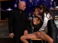 Naughty domina spanking her victim and whipping her sub