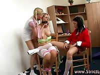 Two teen femdoms humiliating a lovely blonde MILF