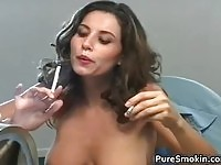 Hot ass brunette touching her body while smoking