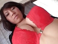 Mouth watering japanese doll teases with her big round boobs
