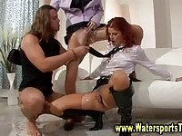 Steamy watersports threesome for two hot upper class sluts