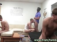 Hot college guys in cock sucking action