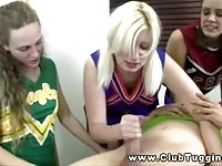 Hot blondie teaching her teen friends how to give a handjob
