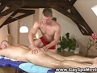 Lovely gay hunks in massage action