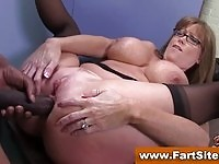 Luscious MILF with big boobs gets her ass fucked by a BBC