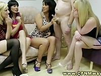 Four hot babes handling one cock