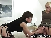 Two sexy British MILFs tugging and face sitting