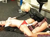Two magnificent lezzies toying each others pussies so passionately