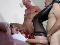 Horny Lara pumped by two seniors