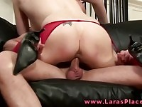 Cum craving British MILF in stockings riding a meat pole