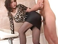 Gorgeous asian secretary sucking on dick and getting her twat pumped really hard