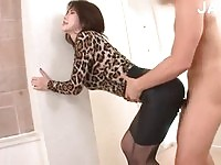 Breasty Asian fucked through her tight skirt.