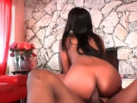 Hot ebony doll riding on a dick with her butthole