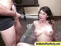 Watersports slut gets fucked and drenched