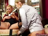 Two stunning blonde lesbians having multiple orgasms