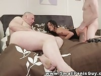Lovely brunette domina fucked by a stud while her subject is watching
