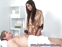 Tall masseuse gives head