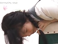 Sexy Asian schoolgirl takes a mouthful before having her ass licked