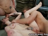 Hot alternative babe fucked by two studs and facialized