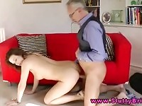 Sexy British babe in high heels fucked by a geriatric