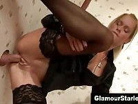 Hottest blonde babe fucking and sucking a gloryhole cock