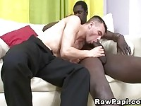 A latino guy enoying a hard black dong