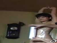 Dirty tied brunette gets wrapped in plastik