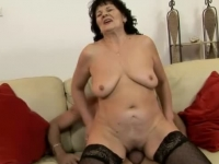 Lusty granny in cock riding and ass toying!