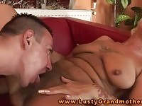 A dirty blonde granny enjoying hard cock