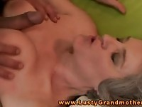Naughty granny gives a titjob before getting fucked hard