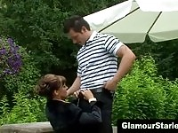 Glam clothed darling gives an insane outdoor blowjob