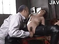 Lusty japanese doll gets her pussy toyed with a dildo