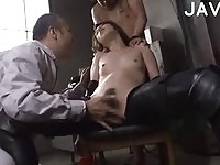 Sexy Japanese spy fingered by some horny studs
