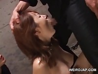 Tied up nippon slave gives some pretty intense head
