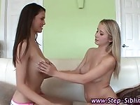 Two dirty teen step sisters having lesbian sex