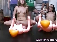 Hazing college chicks riding and sucking their toys