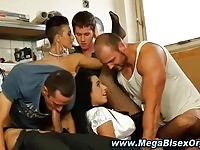 Bisexual orgy in a work shop