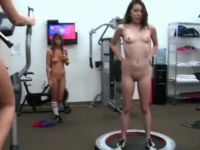 Hazing college girls showing off their bodies at the gym