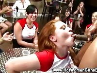 Horny girls next-door giving out blowjobs at a party