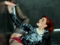 Fiery redhead going solo and getting her body drenched in slime