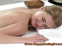 Sweet teen pumped by her masseur