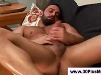 Horny mature guys milking his cock