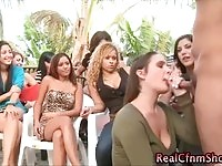 CFNM seductress sucking dick in front of all her friends