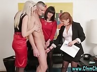 Three horny CFNM sirens handling a dude's dick