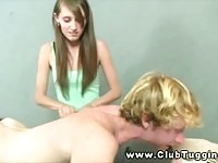 Long haired teen wanks a blonde dude