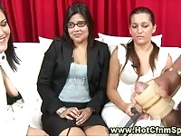 Horny CFNM divas jerking off studs with some machines