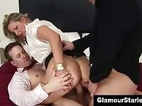 Sexy glam blonde gets a taste of double penetration
