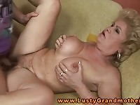 Busty blonde GILF fucked in her hairy twat by a young stud