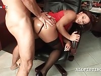 Slutty redhead in stockings gets her ass fisted and fucked