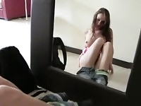 Seductive teen skipping school and masturbating in her bedroom